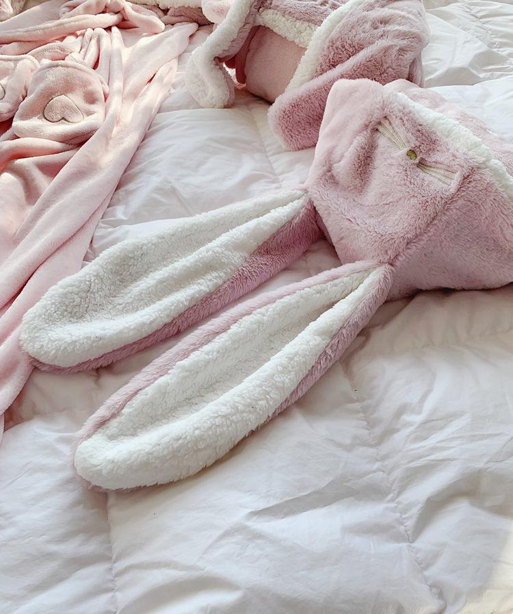Cute Pink Comfy Blanket Sweatshirt Winter Warm Adults and Children Rabbit Ear Hooded Fleece Blanket Sleepwear Huge Bed Blankets 143