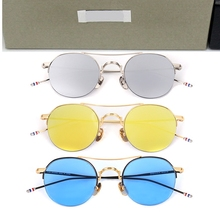 High Quality Classic Vintage Round Pilot Sunglasses Men Thom