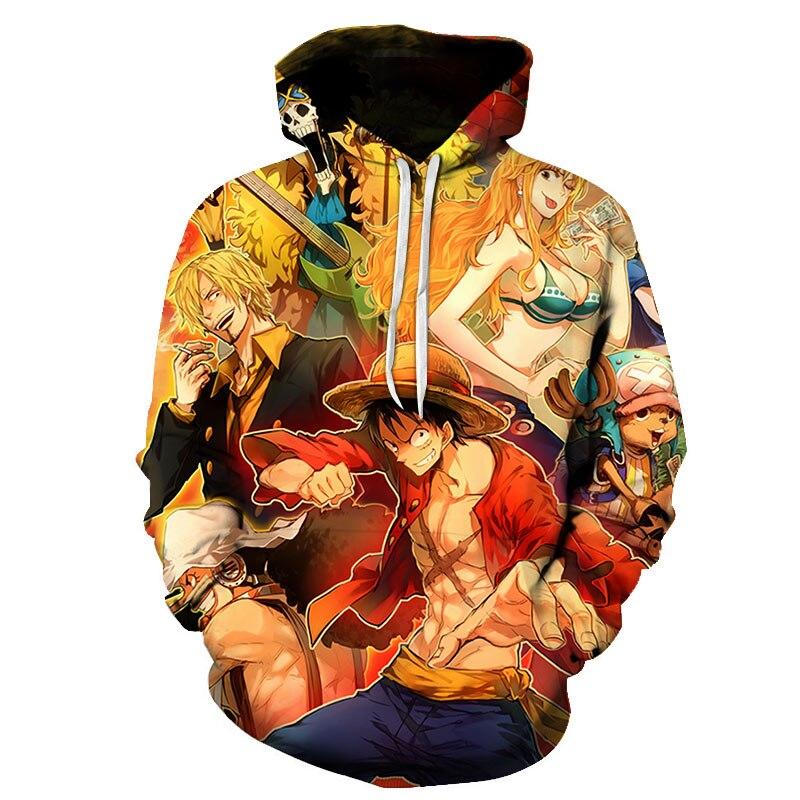 Autumn One Piece Luffy Design Hoodied Sweatshirt Men Hip Hop 3D Print Cute Tony Chopper Cartoon Pullover Sunny Pirate Banner