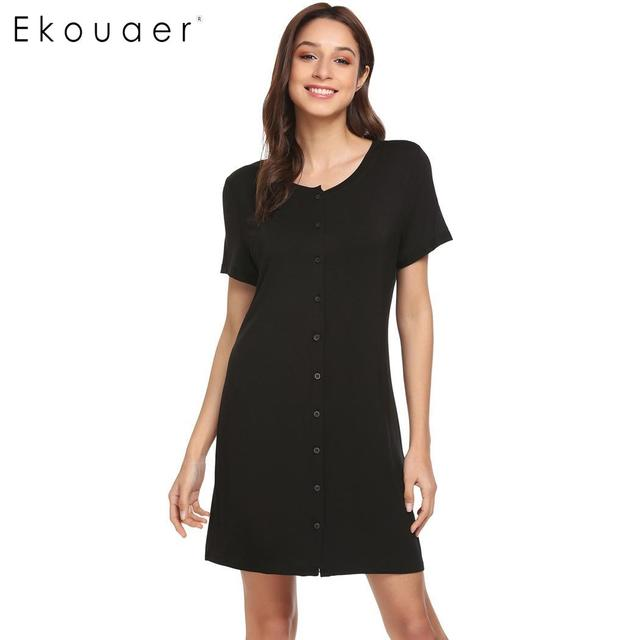 a1a765b1d9 Ekouaer Women Night Dress Chemise Nightgown Front Button Short Sleeve Solid  Nightdress Nightshirts Female Soft Lounge Homewear