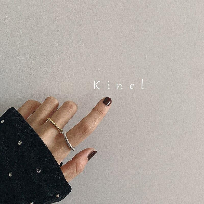 Женское Винтажное кольцо Kinel, кольцо из стерлингового серебра S925 пробы, простое пляжное Открытое кольцо миди, лучший подарок, новинка 2019|Кольца|   | АлиЭкспресс