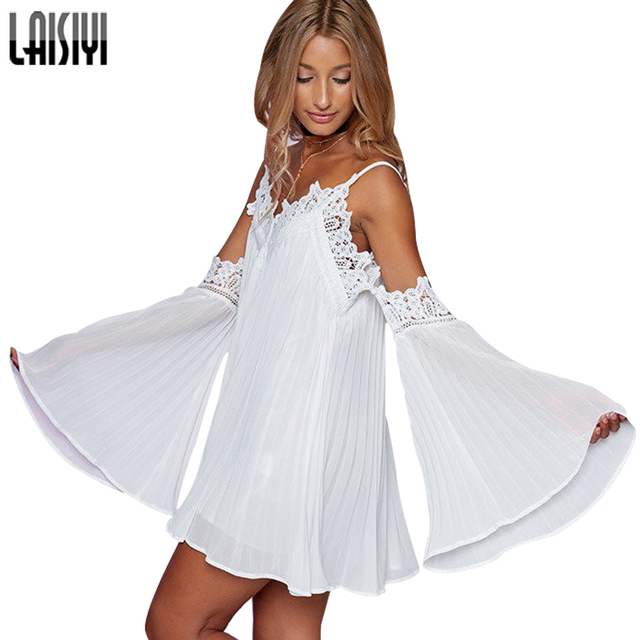 LAISIYI Sexy Lace Summer Dress Split Women Clothing Camisoles Dresses Off  Shoulder Long Sleeve Beach Sundress 21422d9557d5
