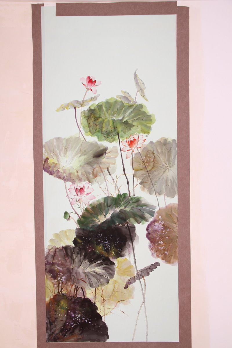 Classic Elegant Hand-painted silk wallpaper painting lotus silk wallcovering many pictures optionalClassic Elegant Hand-painted silk wallpaper painting lotus silk wallcovering many pictures optional