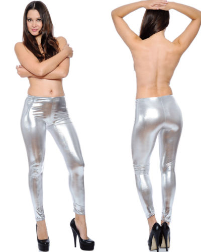 Shiny Silver White Royal Blue Purple Glitter Skinny Pants
