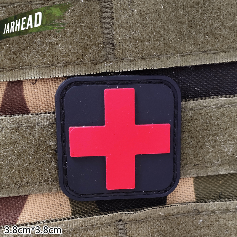 Red Cross Medical Tactical PVC Patches Velcro Rubber Armband Military Badge Personality For Backpack Hat Clothes Jacket