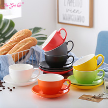1 pcs 300ML, exquisite ceramic coffee cup and spoon set, fashion design,  large capacity cup, European