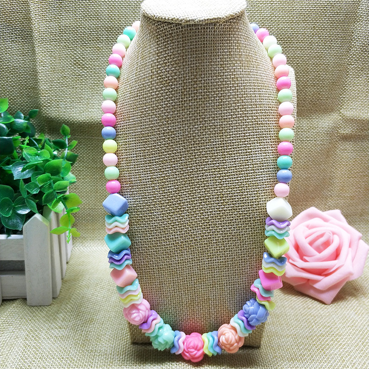 New Korean Kids Necklace Resin And Acrylic Rose Flower Candy Color Girl Kids Necklace Jewelry