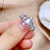 PROCOGEM Vintage Natural Blue Moonstone Rings for Women Party Gifts 1.0Ct Genuine gemstone Fine jewelry 925 Sterling Silver #532