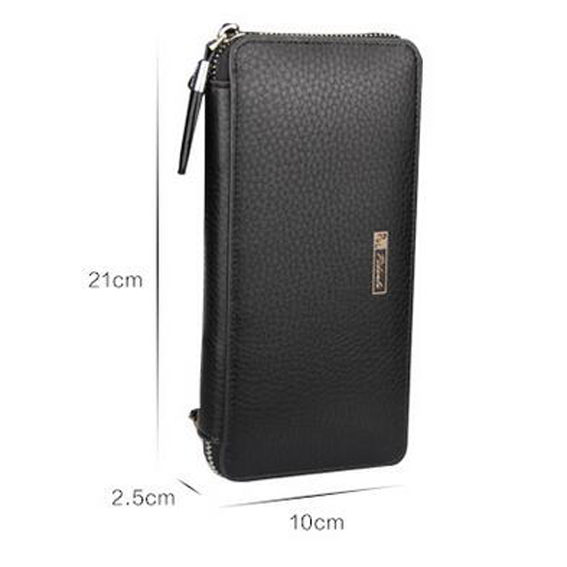 Genuine Leather Long Design Wallet Men Multi-card Bit Wallet High-quality Day Clutch Carteira Masculina Zipper Coin Purse