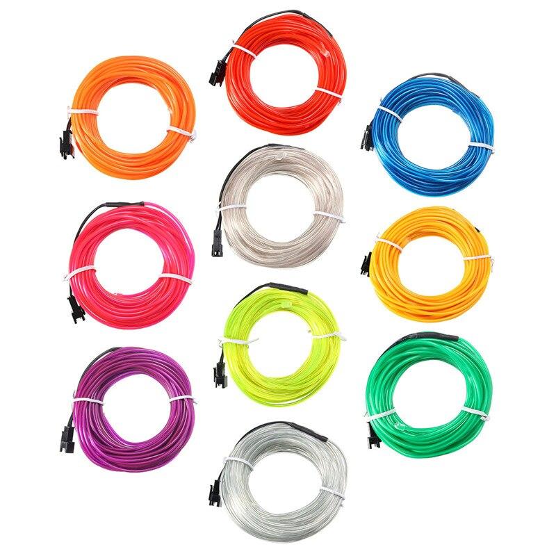 DC12V 10M EL Led Flexible Soft Tube Wire Neon Glow Car Rope Strip Light Xmas Christmas Decor 10 Colors 10m 20m el led flexible soft tube wire neon glow car rope strip light xmas decor ac 12v christmas home decoration