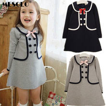 Retail 2017 New summer children girls dress,cotton long design t-shirt double-breasted buttons sub school navy 3-7Y(China)