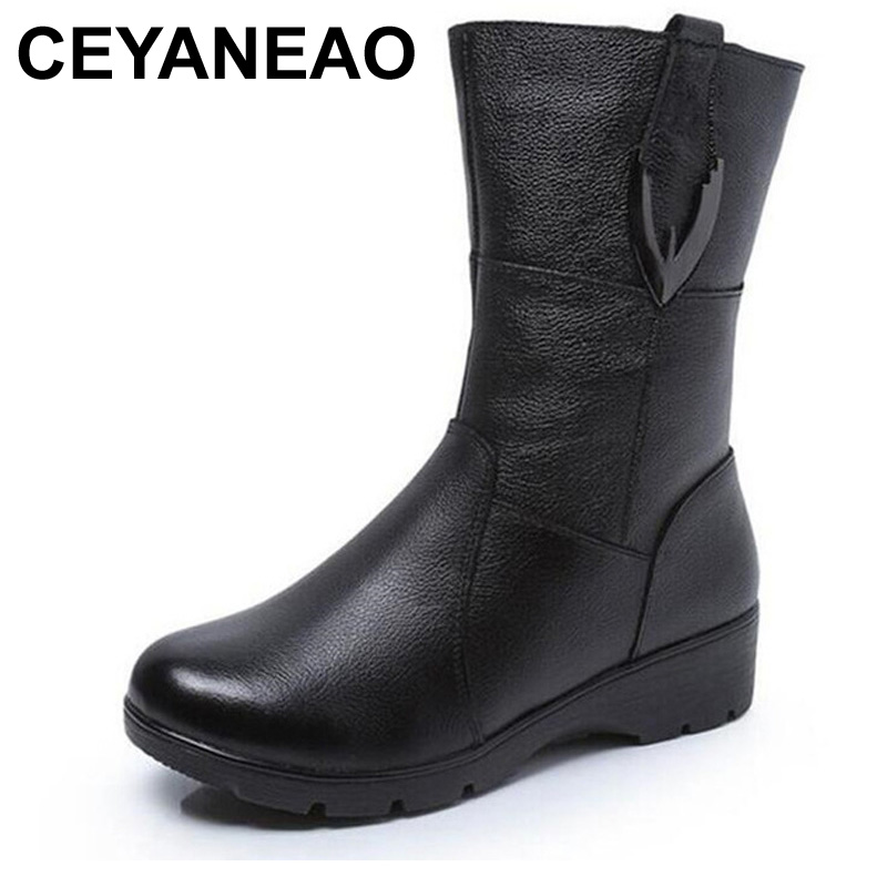 CEYANEAOAutumn winter women boots snow boots 2018 best selling fashion shoes woman genuine leather boots flat