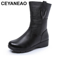 CEYANEAOAutumn winter women boots snow boots 2018 best selling fashion shoes woman genuine leather boots flat shoesE1217