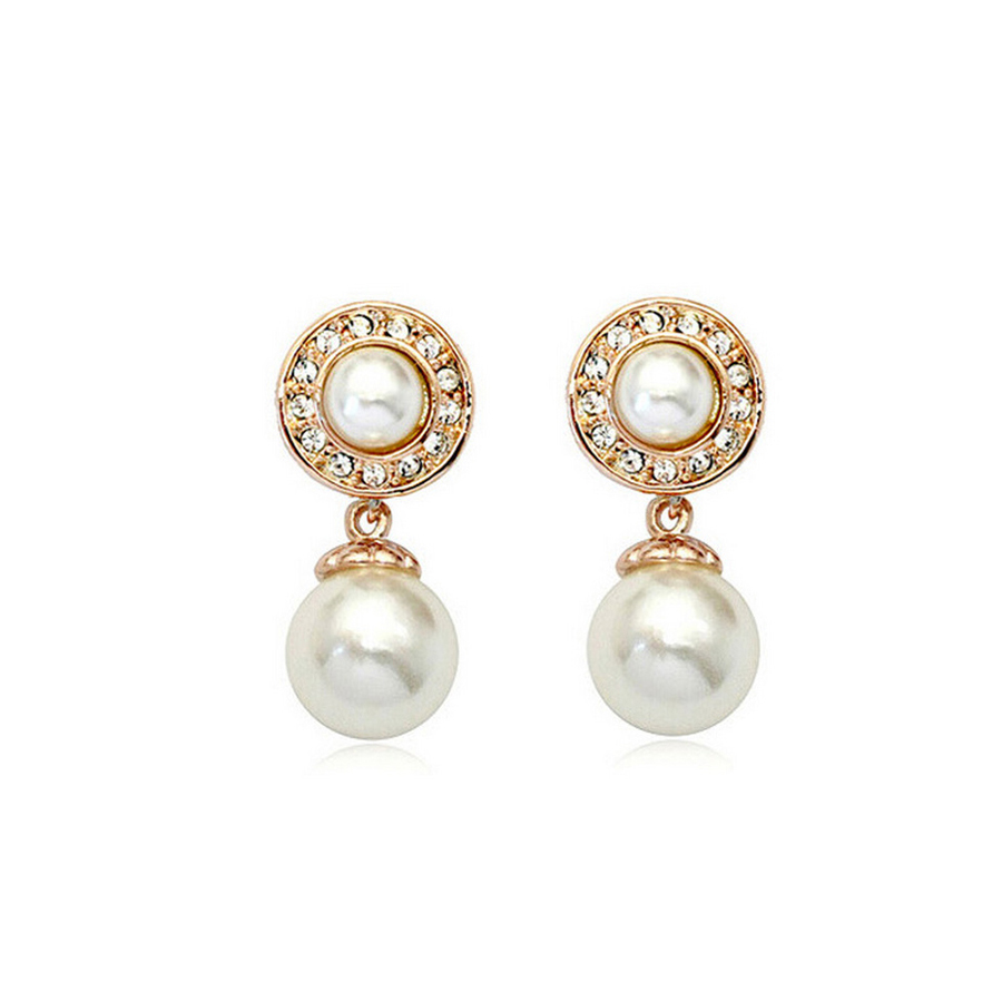 Pearl Pearl Exotic Retro Pearl Earrings Rose Gold Plate SWA Element Austrian Crystal Stud Earring
