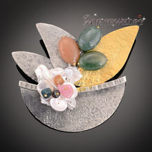 IYOE Antiqued Silver Color Tree Colorful Natural Stone Brooches Women Pearl Shell Brooch Vintage Safety Pin Dress Accessories(China)