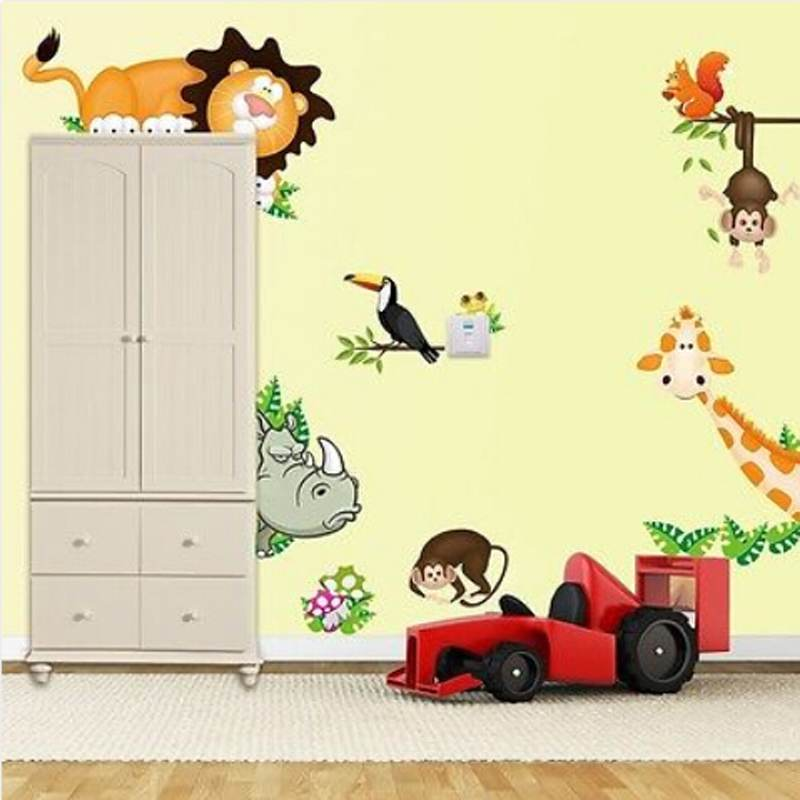 Jungle Animal Lion Monkey Tree Wall Stickers Kids Art Decor Mural ...