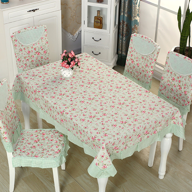 Green Color 9 pieces set Tablecloth with Chair Cover New Cheap Table Cover Set for Dining