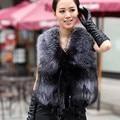 2016 Spring New Women Fur coat silver fox Really Fur Vest Colete De Pele Large size Ladies Cox Cur Coat A#3