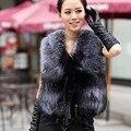 2016 primavera novas mulheres casaco De Pele De prata raposa realmente Colete De Pele Colete De Pele grandes senhoras tamanho Cox Cur casaco A # 3