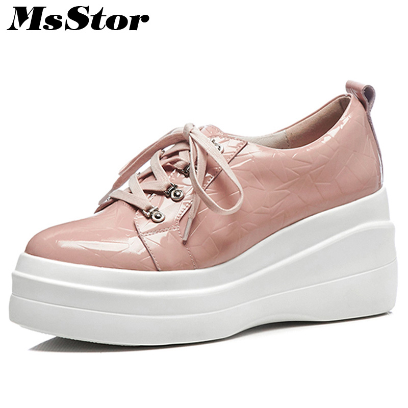 MsStor Round Toe Platform Women Flats Casual Fashion Ladies Flat Shoes 2018 New Spring Cross tied Flat Platform Women Flat Shoes minika new arrival 2017 casual shoes women multicolor optional comfortable women flat shoes fashion patchwork platform shoes