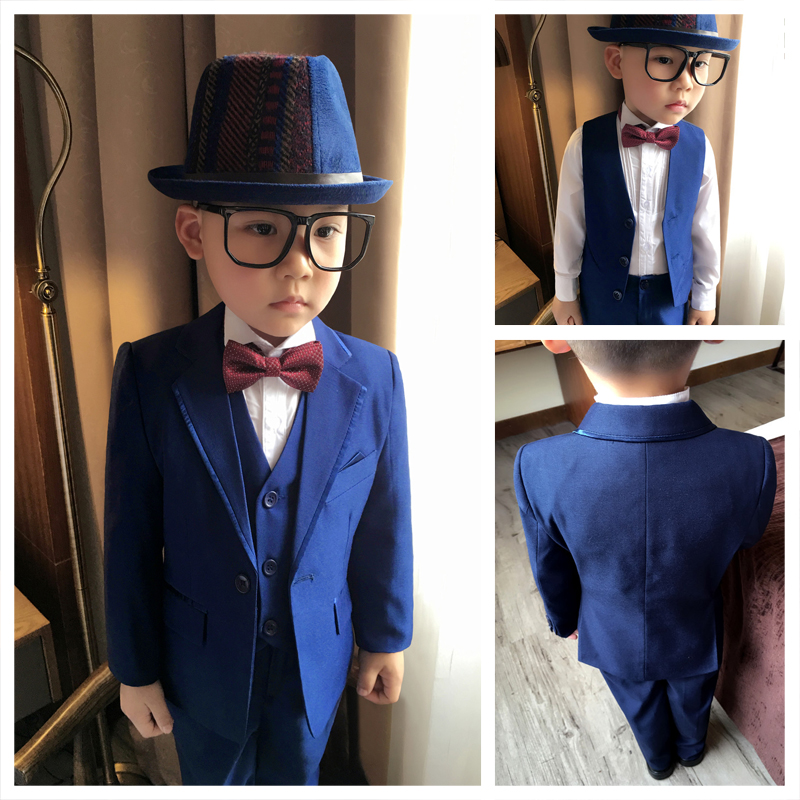 ФОТО (Jackets+Vest+Pant+Shirts+Cravat) Boy Suits Flower girl Slim Fit Tuxedo Brand Fashion Bridegroon Dress Wedding blue Suits Blazer