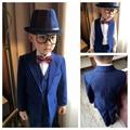 (Jackets+Vest+Pant+Shirts+Cravat) Boy Suits Flower girl Slim Fit Tuxedo Brand Fashion Bridegroon Dress Wedding blue Suits Blazer