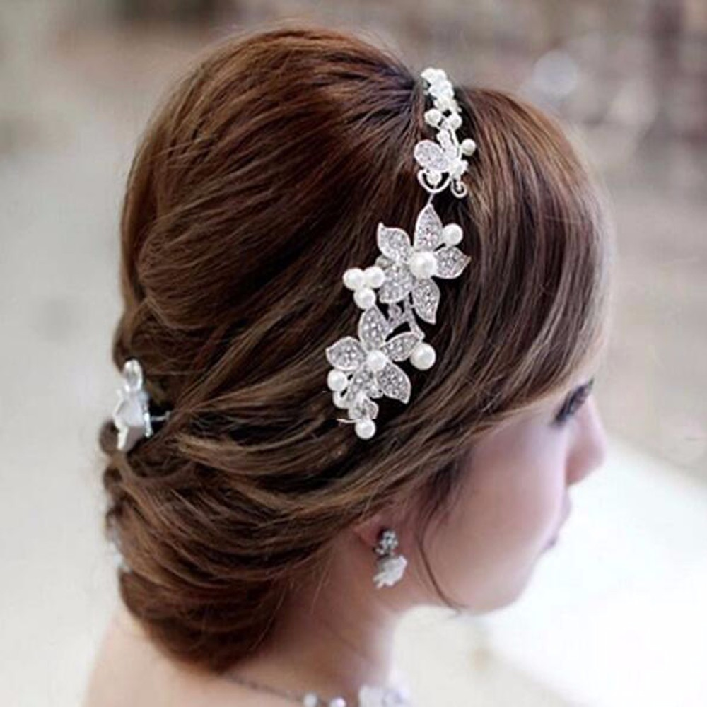Hot Sell Luxury Silver Rhinestone Pearl Bridal Wedding Flower Headband Wedding Tiara Hair Jewelry Hair Clip Comb Women Jewelry