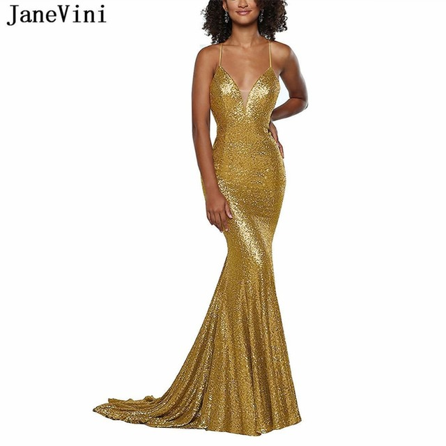JaneVini Sparkle Long Gold Prom Dress Spaghetti Straps Sequined Mermaid  African Sexy Prom Dresses 2019 Plus Size Vestidos Largos 92156546a879