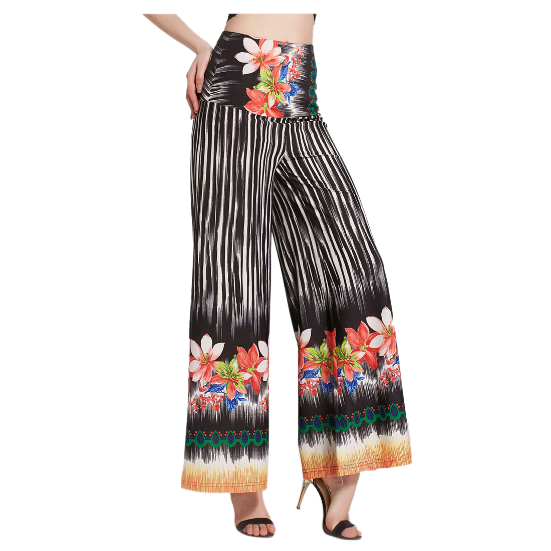 New Women High Waist Loose Pants Palazzo Wide Leg Dance Pants Floral Printing Tribal Pattern Pants Bell Bottom Trousers(B