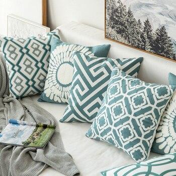 Home Decor Gestickte Kissenbezug Grau Blau/Weiß Geometric Floral Leinwand Baumwolle Suqare Stickerei Kissenbezug 45x45 cm