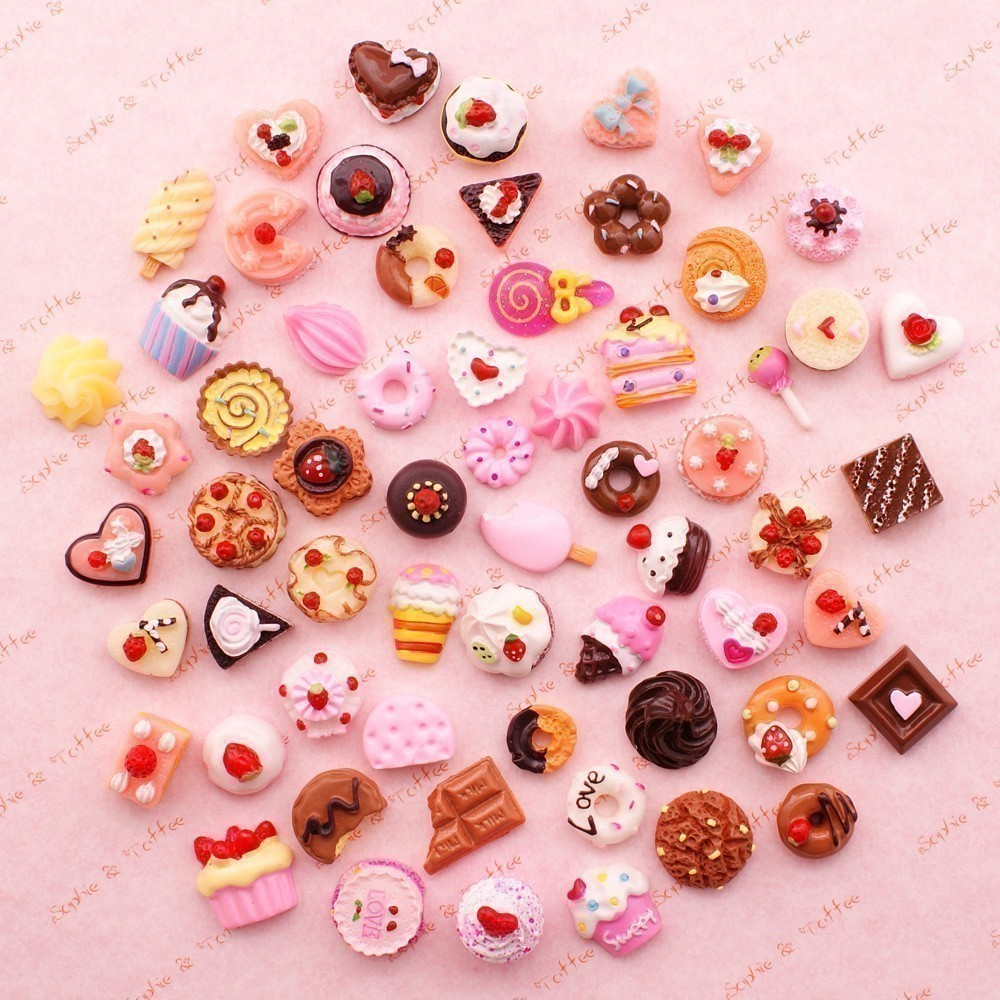 317b130dc74af 10pcs Cute Mini Play Toy Mixed Food Cake Biscuit Donuts Miniature ...