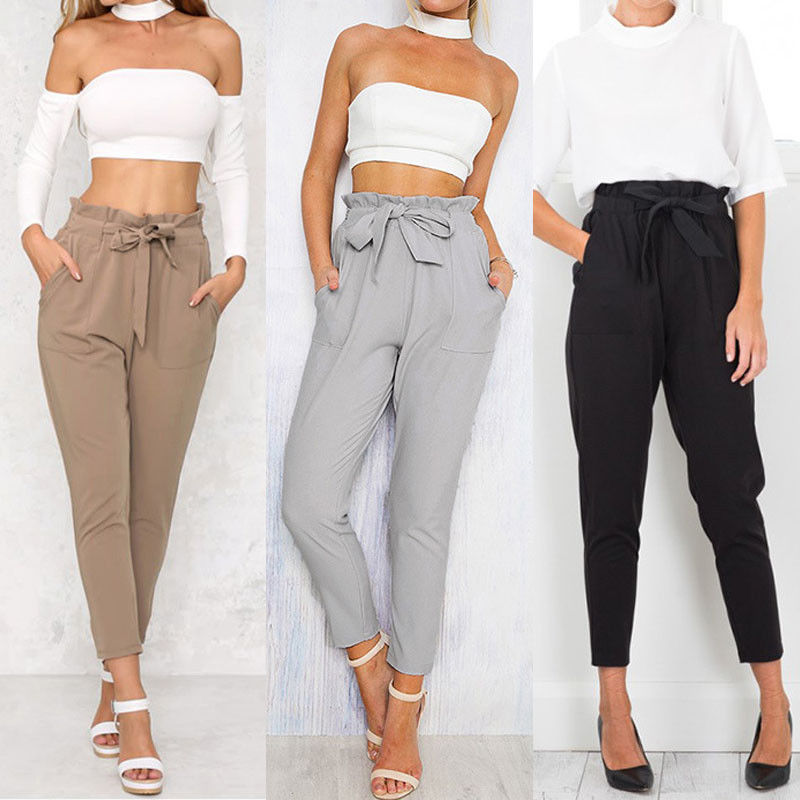 Solid Flat Women's High Waist Casual Sashes Pockets Drawstring Elastic Long Pants Ladies Pencil Trousers