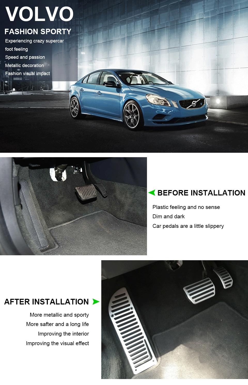 Savanini, алюминиевая подставка для ног, газовые тормозные педали, комплект для Volvo S60 S80L XC60 S60L V60, авто, без сверления, стильный дизайн