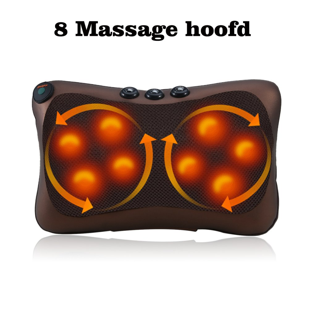 Electric Infrared Heating Kneading Neck Shoulder Back Waist Body Spa Massage Pillow Car Chair Shiatsu Massager Relaxation Device electric infrared heating kneading neck shoulder back spa massage pillow car chair shiatsu massager masaj device pain relief kit
