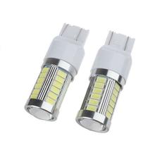 2pcs T20 7443 5630 33LED 33SMD DC 12V 15W 800LM 6000K Car Auto Brake Reverse Backup Turn Light Bulb White