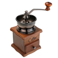Coffee Tools Retro Style Manual Hand Crank Coffee Grinder Golden Tone Cast Iron Burr Core Kitchen