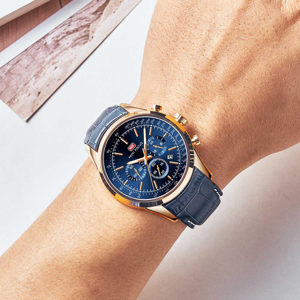 MINIFOCUS décontracté Sport montres pour hommes haut de gamme bracelet en cuir de luxe montre-bracelet homme horloge mode chronographe montre à Quartz