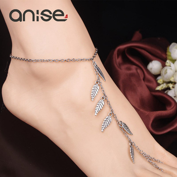 2017 New Alloy Leaf Leaves Tassels Anklet Chain Simple Sandy Beach Bohemia Foot Ankle Bracelets For The Feet Bijoux De Pied Gift