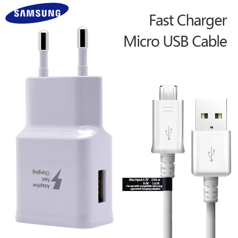 100% Originale Samsung Fast Charger Per La Galassia S7 6 Note4 5 Adaptive Ricarica Rapida EU Spina DEGLI STATI UNITI Viaggi di Ricarica 9 v 1.67A & 5 v 2A