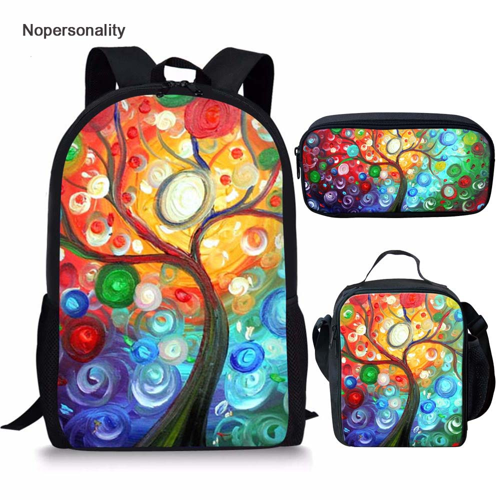 Nopersonality Painting Tree Pattern Girls School Bags For Children Colorful Student Kids Schoolbag Children Back Pack Mochila