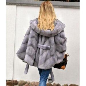 Image 5 - Abrigo de piel de visón auténtica con capucha Chaqueta de manga de murciélago para mujer, abrigo de piel auténtica con cinturón, MKW 107 Natural de piel auténtica para invierno 2019