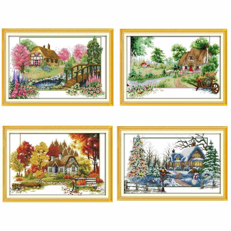 set of 4 seasons. Merejka cross stitch kits