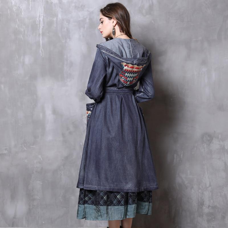 Frauen Denim Vintage Lange Trenchcoat H 2018 Herbst Winter Retro Laterne ZOPkuXi