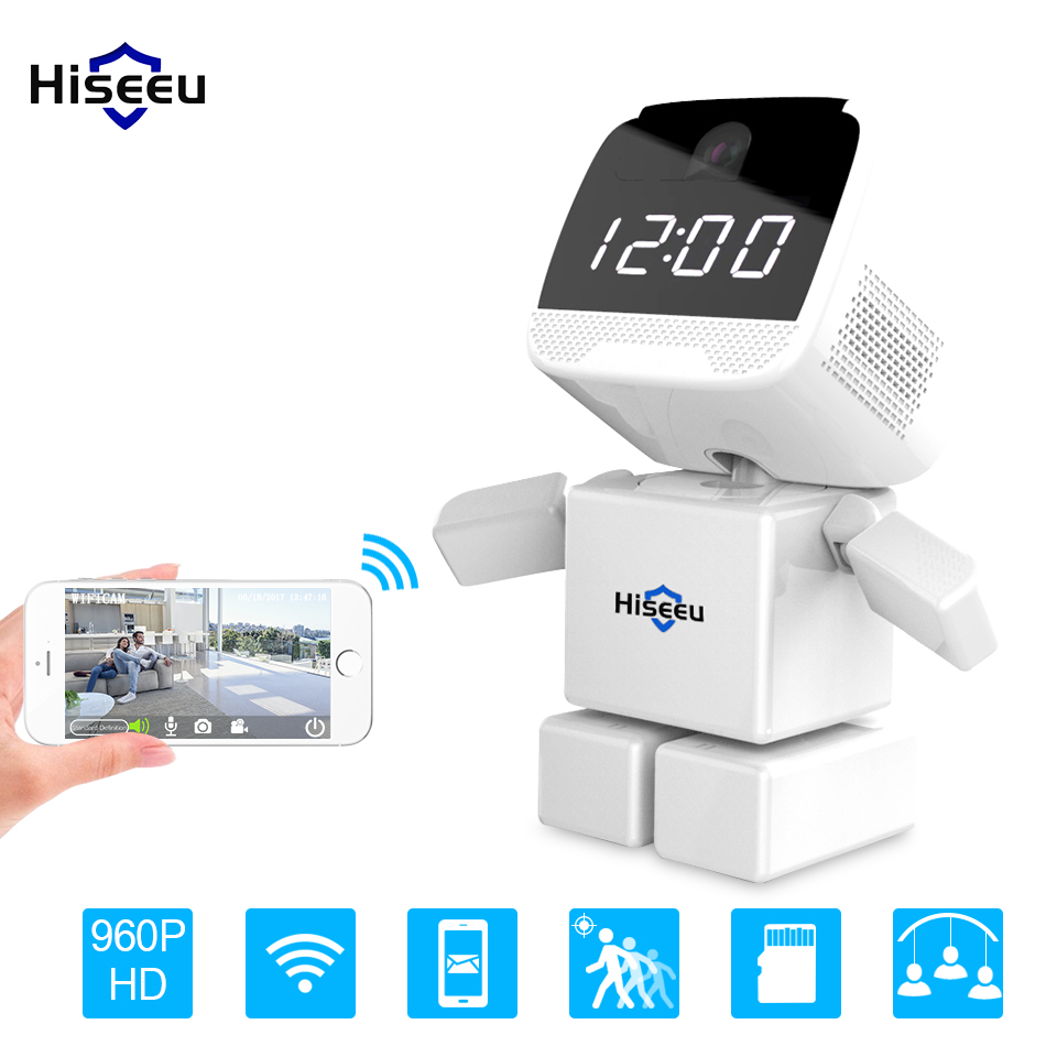 Wireless Robot 960P IP Camera WIFI Clock Network CCTV HD Baby Monitor Remote Control Home Security Night Vision Two Way Audio baby monitor camera wireless wifi ip camera 720p hd app remote control smart home alarm systems security 1mp webcam yoosee app