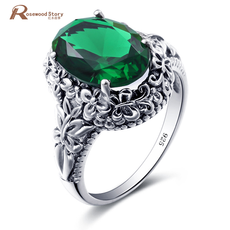 Jewelry & Accessories Reliable Fashion Bulgaria Jewelry Vintage Green Rhinestone Flower Ring 100% Pure 925 Sterling Silver Rings For Men/women Wedding Party