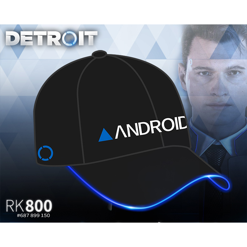 Detroit : Become Human Cosplay Connor LED Light Luminous Cap RK800 Cosplay Props Adult Baseball Cap Game Hat Halloween New