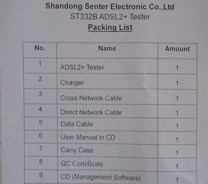 Senter ST332B ADSL Tester Packing List