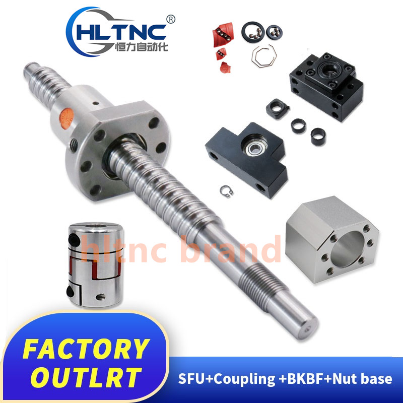 SFU1605 <font><b>800</b></font> 900 1000 1100 1200 1300 1400 1500mm C7 ball screw with 1605 flange single ball nut BK/BF12 end machined image