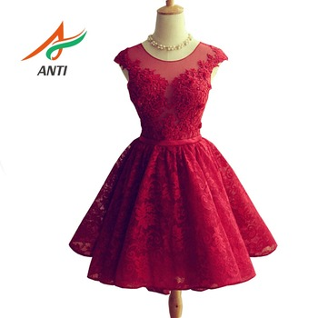 ANTI Burgundy Short Tulle Graduation Dress Knee-Lengeh Special Occasion Dress Women Plus Size 8th Grade mezuniyet elbiseleri