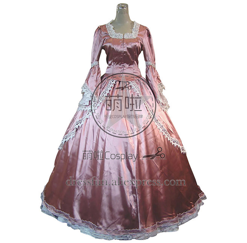 Victorian Lolita Marie Antoinette Satin Gothic Lolita Dress With Glossy Surface And White Lace Decorated Charming For Party